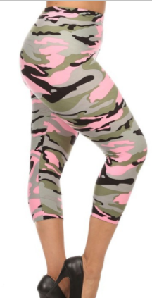 PLUS SIZE ARMY CAMOUFLAGE PRINT CAPRI LEGGINGS