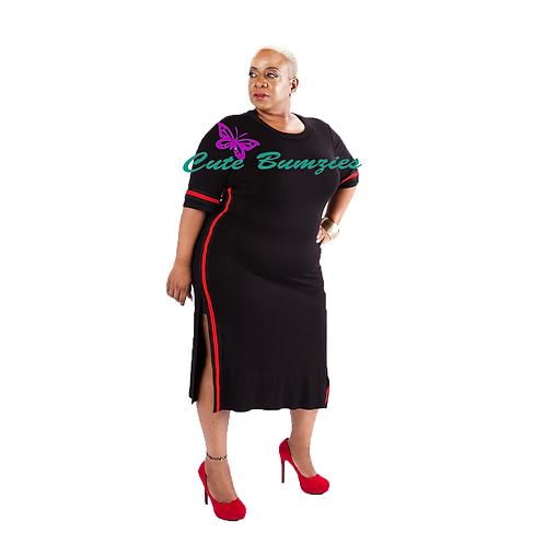FINAL SALE - Plus Size Black With Red Side Stripe Slit Dress
