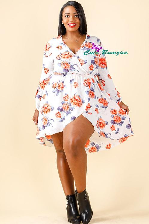 Plus Size White Printed Hi-Lo Wrap Dress