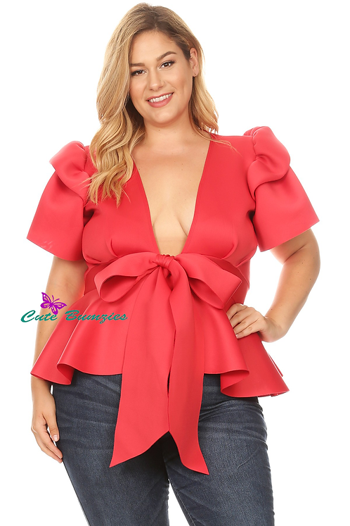 Plus Size Peplum Top with Front Tie and Ruffle Sleeves in Red