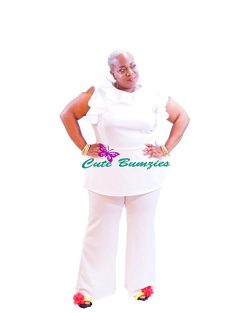 FINAL SALE - Plus Size WHITE RUFFLE POINT TOP  PANTS SET