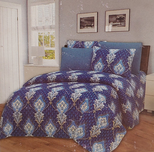 Glory Home King Sheet Set 1800 Series, Blue and White Print Wrinkle Fre