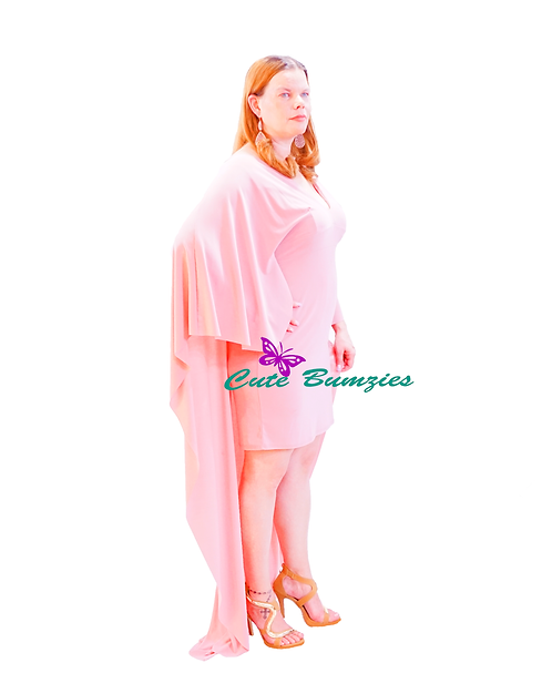 FINAL SALE - Plus Size HI-LO MAUVE CAPE BODYCON DRESS