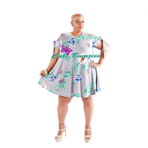 Plus Size FLOWER PRINT COLD SHOULDER DETAIL DRESS