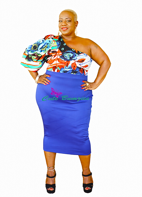 Plus Size Puffed One Shoulder Print And Blue Solid Mix Dress