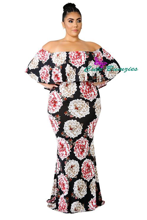 Plus Size Sky Bloom Plus Size Maxi Dress