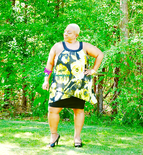 Plus Size Yellow Floral Bodycon Dress With Chiffon Overlay