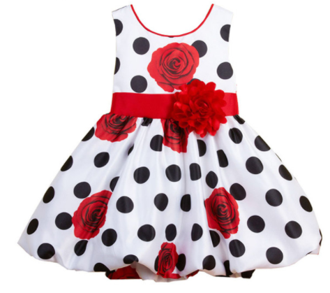 BABY CUTE POLKA DOTS DRESS WITH RED BOW