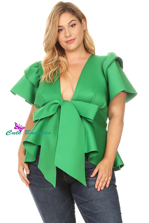 Plus Size Peplum Top with Front Tie and Ruffle Sleeves in Green