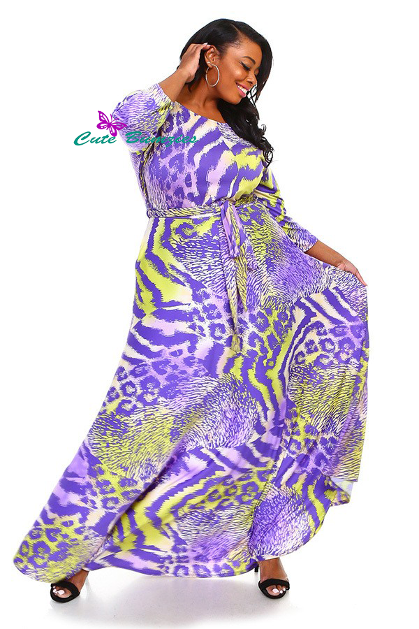 New Product - Plus Size Purple and Green 3/4 Sleeve Maxi Dress 4XL-6XL