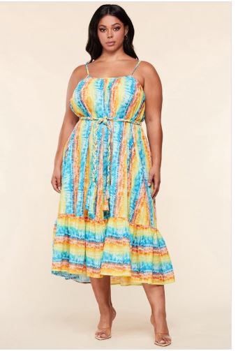 New Arrival Plus Size Spaghetti Strap Tie-Dye Dress