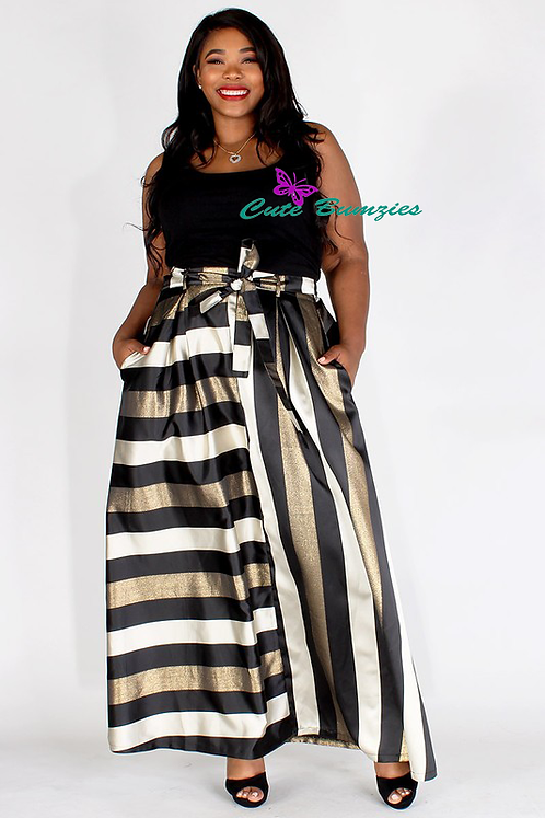 Plus Size GoldMetallic stripe taffeta a-line maxi skirt