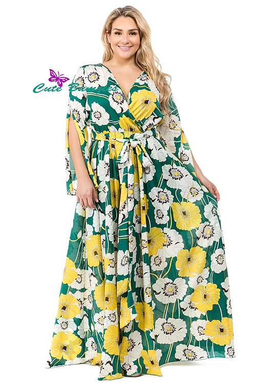 Yellow and Green Floral print, a-line maxi dress with wrapped style