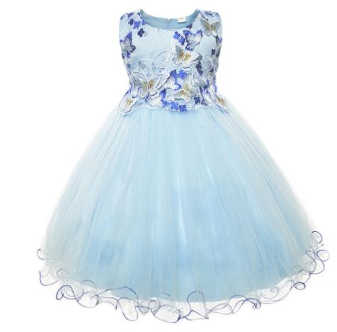 BABY CUTE BLUE BUTTERFLY FORMAL DRESS