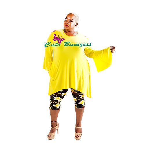 FINAL SALE - Plus Size YELLOW BELL SLEEVE TOP WITH SHOULDER CUTOUTS