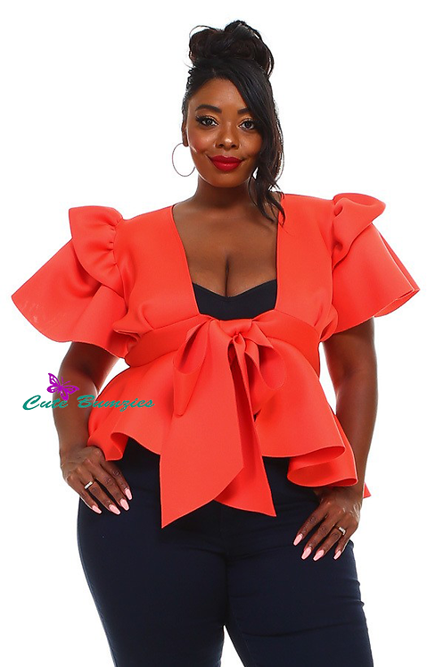 Plus Size Peplum Top with Front Tie and Ruffle Sleeves in Orange