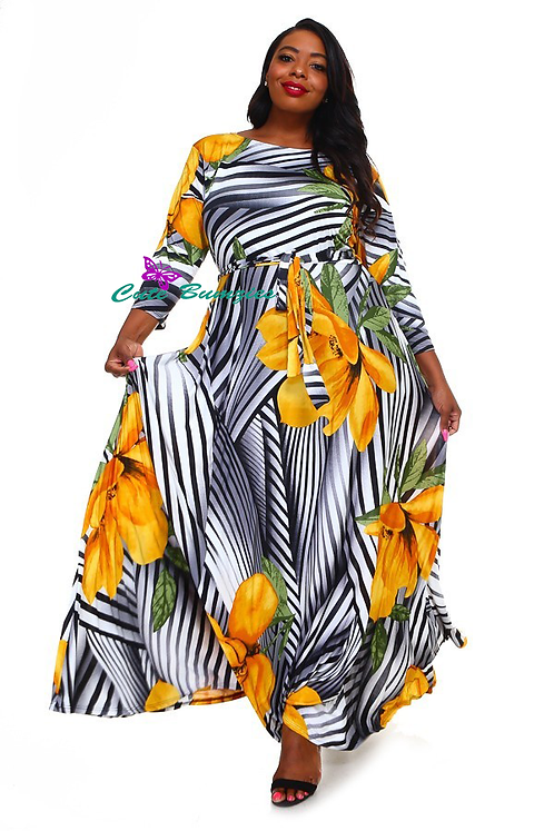 Plus Size 3/4 Sleeve Maxi Dress with Yellow Flower