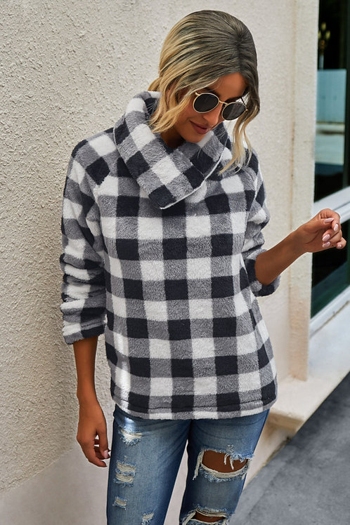 Womens Plush Buffalo Plaid Pullover front view in black and white