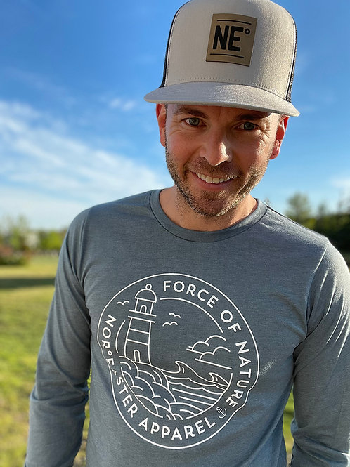 Nor'easter Apparel mens long sleeve T-shirt, heather slate with Force of Nature graphic, front view, close.