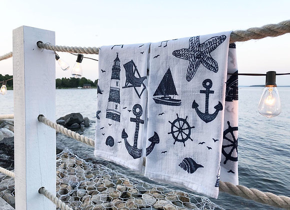 Maritime Collage Tea Towel side view