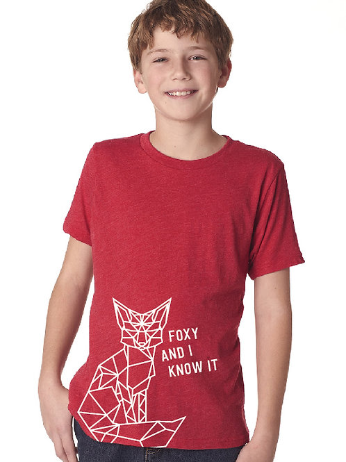 Noreaster kids fox tee in red front view