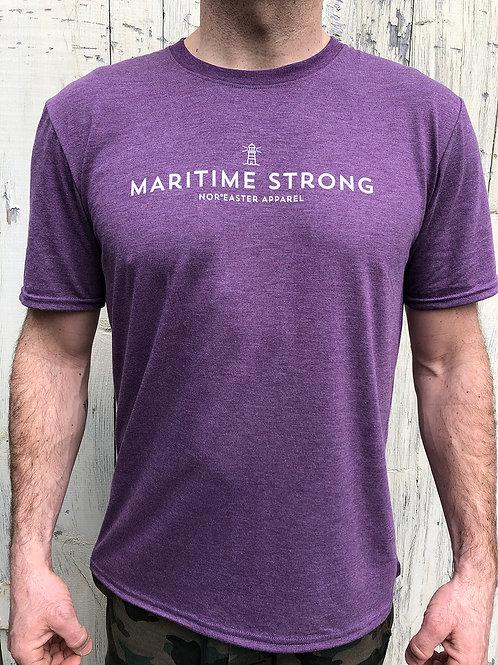 Mens crew neck tee in heather purple front view