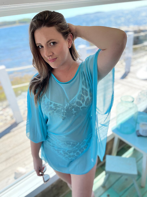 Nor'easter Apparel Women's Sheer Beach Cover-up front view in blue