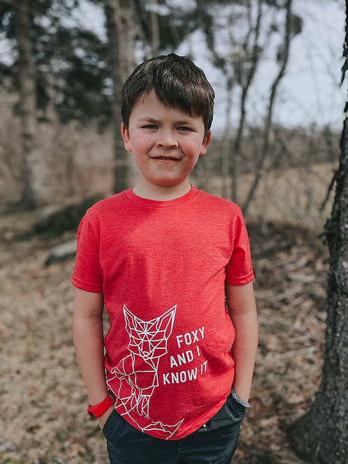 Noreaster-apparel-Foxy-Kids-Tee front view in red