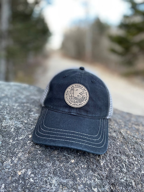 Noreaster Washed Black and Grey Dad Hat front view in black