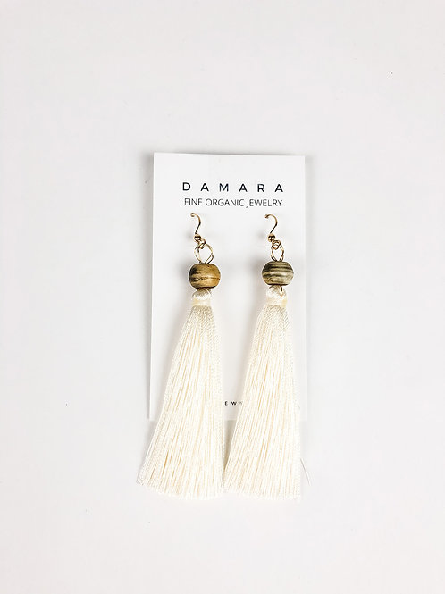 Noreaster fringe earrings in cream front view.