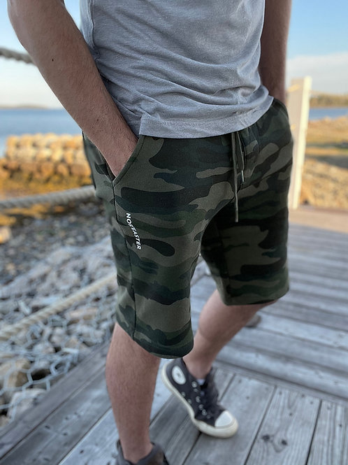 Noreaster Apparel Camo jogger short front view in green