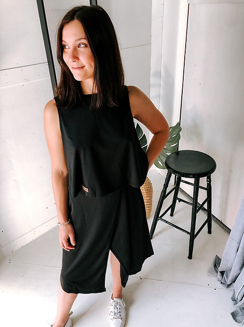 Black Two-Piece Set With Backless Vest and Irregular Skirt front view in black