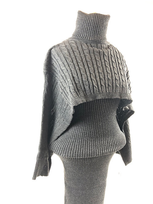 Noreaster Apparel Two-piece Sweater Dress in grey front view