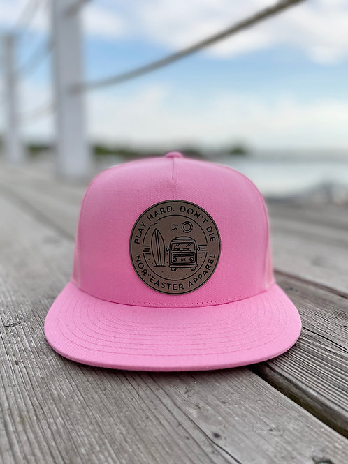 Nor'easter Apparel Pink Play Hard Trucker Hat front view