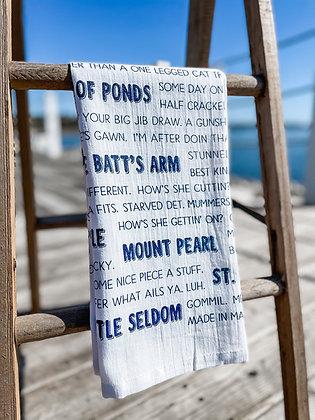 Far Far Away Shop, Newfoundland Slang Tea Towel front view in navy