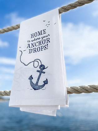 Far-Far-Away-Home Anchor tea towel front view in white and navy