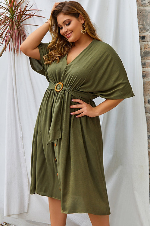 Noreaster Apparel Lady's Button Down Dress front view in green