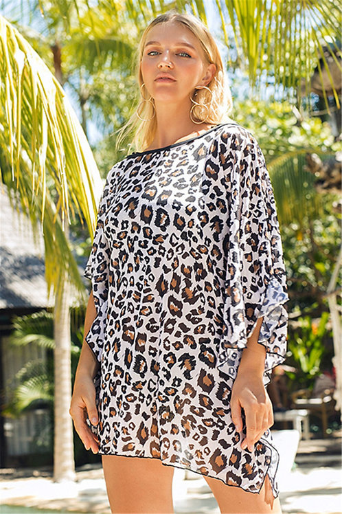 Noreaster Apparel Leopard-print boat-neck beach coverup front view