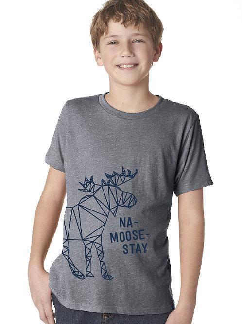 Noreaster kids moose tee in grey front view