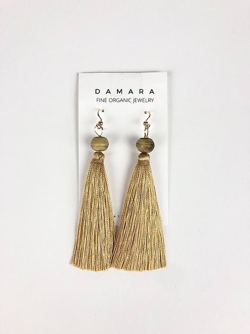 Noreaster silk fringe earrings in beige front view