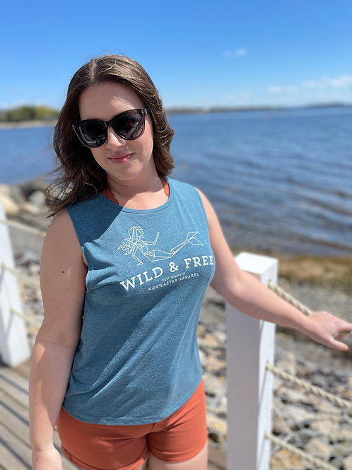 Noreaster Apparel Women's Sleeveless Wild and Free Mermaid T-shirt front view in heather turquoise