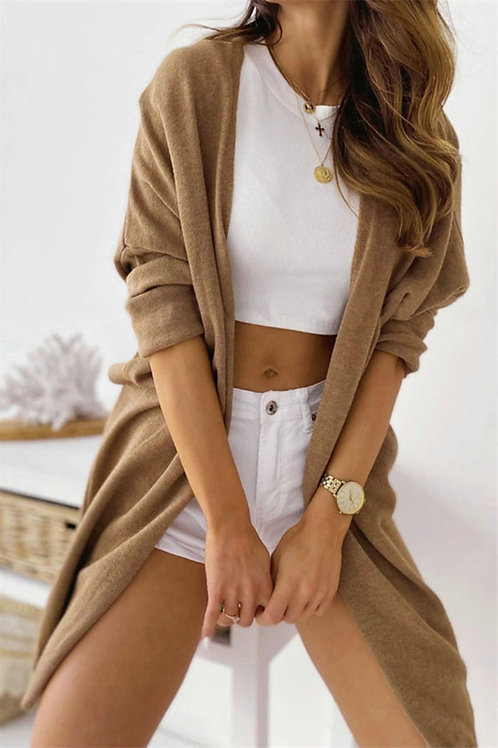 Women's Light Knit Stretch Cardigan in brown front view