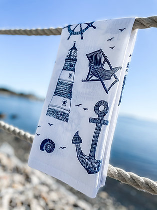 Far Far Away Shop, Maritime Collage Tea Towel front view in navy