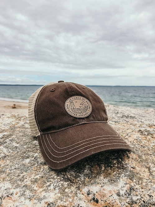 Nor'easter Apparel Dad hat front view in brown