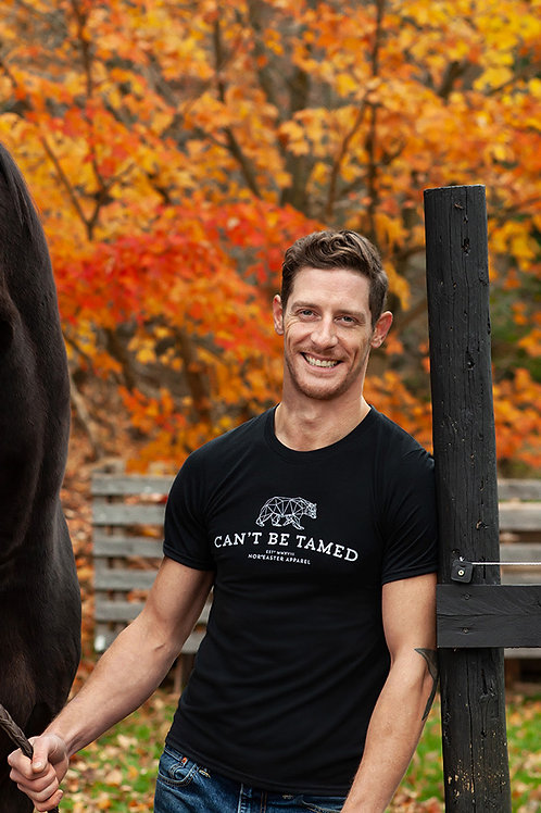 Nor'easter Apparel Mens Can't be tamed tee front view in black