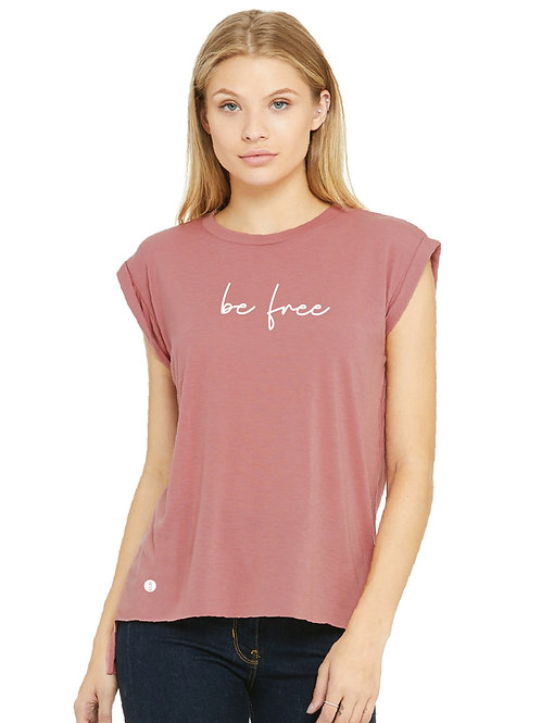 Women's Flowy Muscle Tee with Rolled Cuff in Mauve Front view