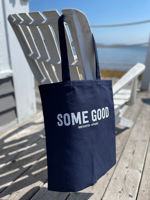 Nor'easter Reusable Tote Bag front view in Navy