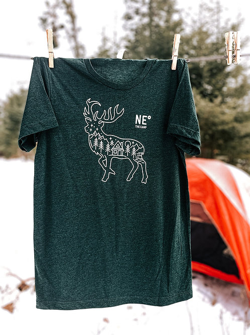 Noreaster The Camp Crew Neck Triblend Tee Shirt in deep green front view