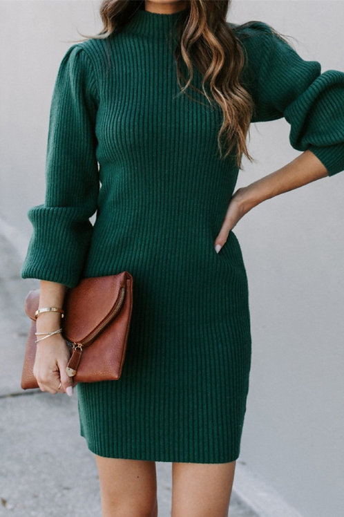 Nor'easter Apparel Stretch Sweater Dress in Green Front View