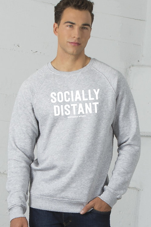 Socially Distant Crew Neck Sweater in heather grey, front view
